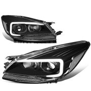 13-16 Ford Escape LED DRL Tube Projector Headlights - Black / Clear