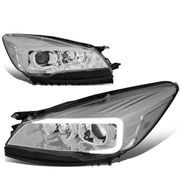 13-16 Ford Escape LED DRL Tube Projector Headlights - Chrome / Clear