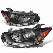 13-16 Mazda CX5 Replacement Projector Headlights - Black / Amber