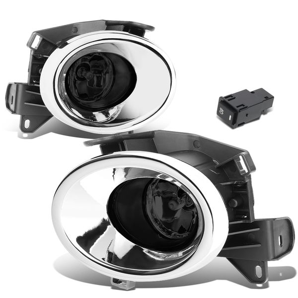 13-16 Nissan Pathfinder R52 Pair of Chrome Cover Smoked Lens Bumper Driving Fog lights Lamps + Switch