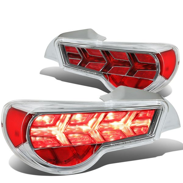 13-17 Scion FRS / Subaru BRZ LED Arrow Sequential Tail Light (Chrome Housing / Clear Lens / Red Signal)