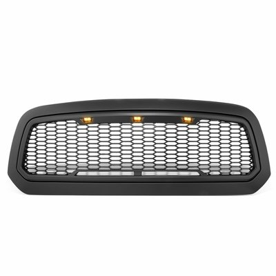 13-18 Dodge RAM 1500 [Mesh Style w/ LED] Front Replace ABS Upper Grille - Black