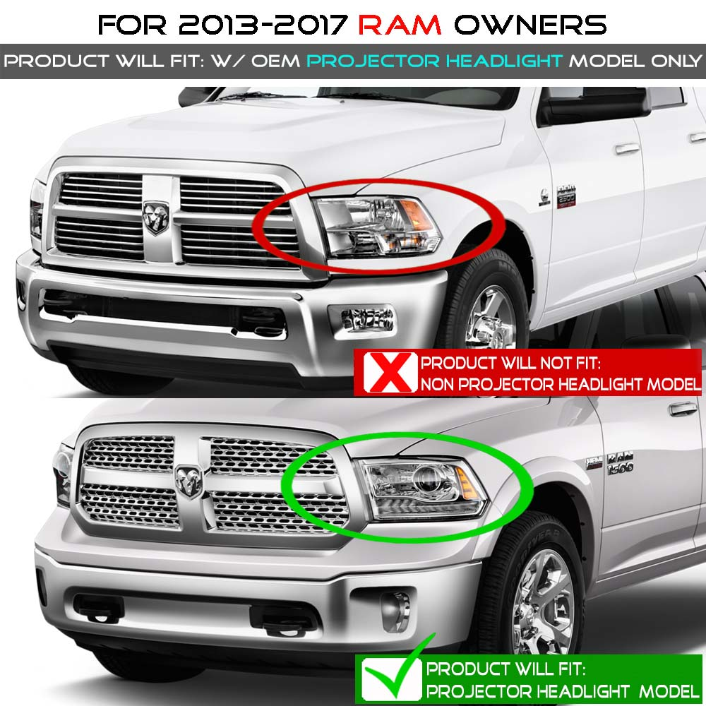 13 18 Dodge Ram Factory Style Led Drl Projector Headlights Black Chrome Bezel