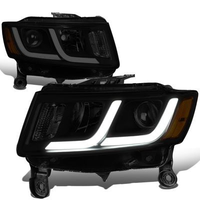 14-16 Jeep Grand Cherokee [Halogen Model] LED DRL Projector Headlights - Black Smoked / Amber
