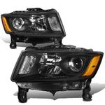 14-16 Jeep Grand Cherokee [Halogen Model] Replacement Headlights - Black / Amber