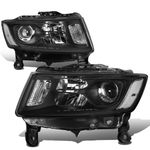 14-16 Jeep Grand Cherokee [Halogen Model] Replacement Headlights - Black / Clear