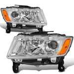 14-16 Jeep Grand Cherokee [Halogen Model] Replacement Headlights - Chrome / Amber