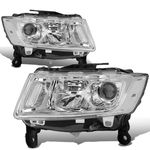 14-16 Jeep Grand Cherokee [Halogen Model] Replacement Headlights - Chrome / Clear
