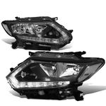 14-16 Nissan Rogue LED DRL Reflective Headlights - Black / Clear