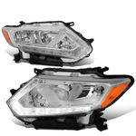 14-16 Nissan Rogue LED DRL Reflective Headlights - Chrome / Amber