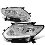 14-16 Nissan Rogue LED DRL Reflective Headlights - Chrome / Clear