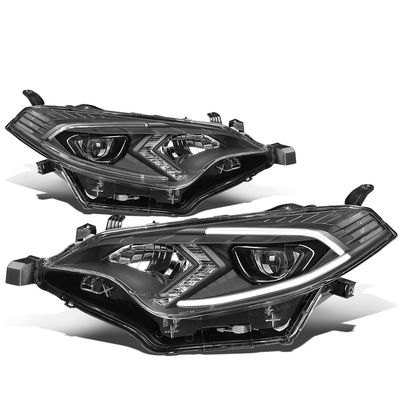 14-16 Toyota Corolla Sedan Pair LED DRL Projector Headlight / Lamps (Black Housing / Clear Corner)