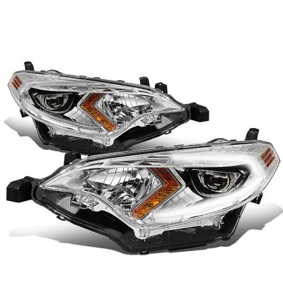 14-16 Toyota Corolla Sedan Pair LED DRL Projector Headlight / Lamps (Chrome Housing / Amber Corner)