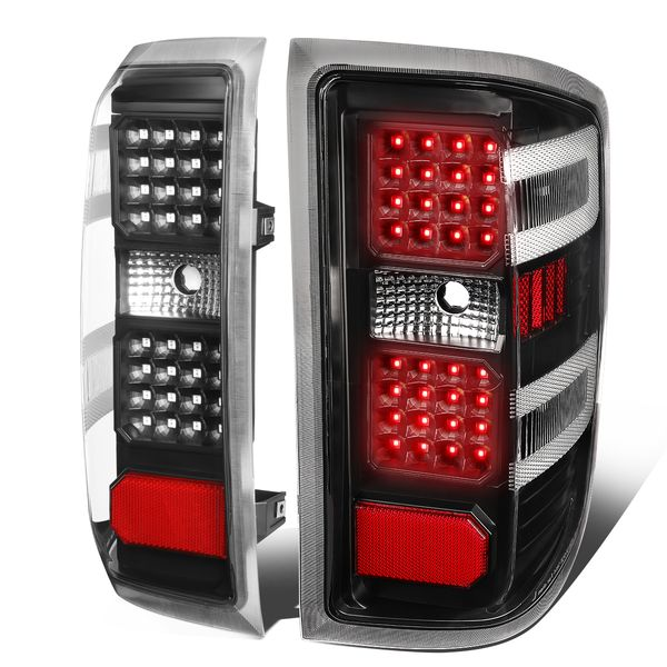 14-18 Chevy Silverado Full LED Tail Lights - Black Clear