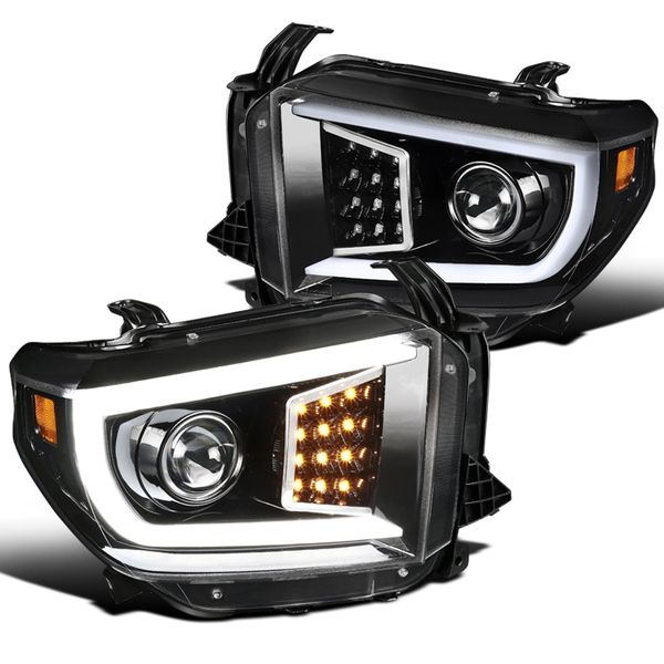 14-19 Toyota Tundra Optic LED DRL Projector Headlights - Parl Black