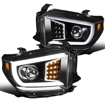 14-18 Toyota Tundra Optic LED DRL Projector Headlights - Parl Black