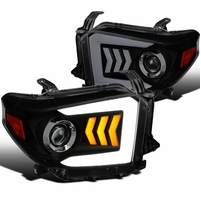 14-20 Toyota Tundra Sequential LED Signal DRL Projector Headlights - Black Smoked