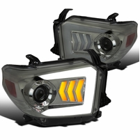 14-20 Toyota Tundra Sequential LED Signal DRL Projector Headlights - Smoked