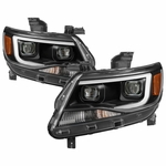 15-19 Chevy Colorado Dual Projector LED DRL Headlights - Black
