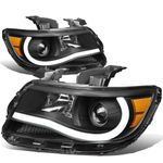 15-19 Chevy Colorado LED Tube Projector Headlights - Black Amber