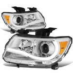 15-17 Chevy Colorado LED Tube Projector Headlights - Chrome Amber