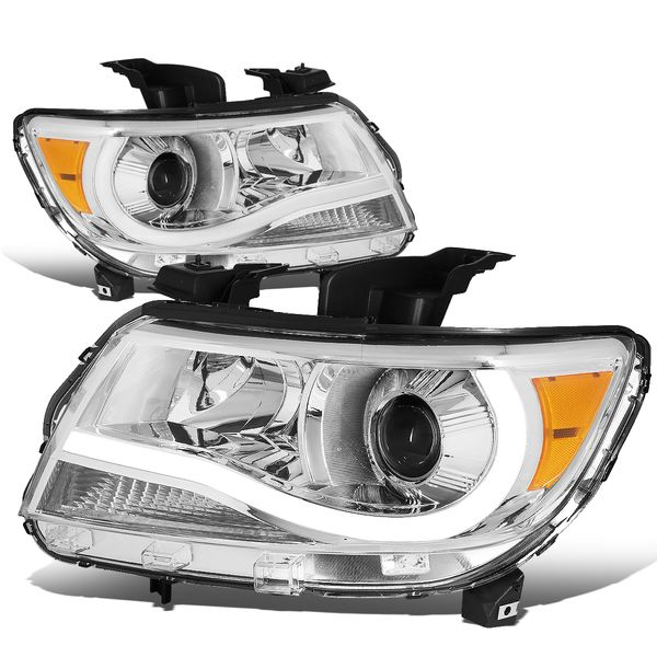 15-19 Chevy Colorado LED Tube Projector Headlights - Chrome Amber