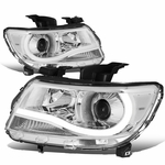 15-19 Chevy Colorado LED Tube Projector Headlights - Chrome Clear