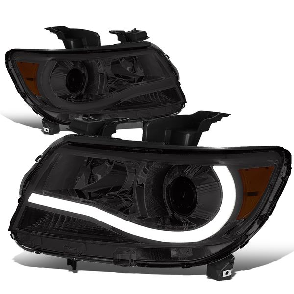 15-19 Chevy Colorado LED Tube Projector Headlights - Smoked Amber