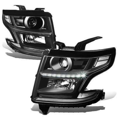 15-17 Chevy Tahoe/Suburban LED DRL Projector Headlights  - Black / Clear