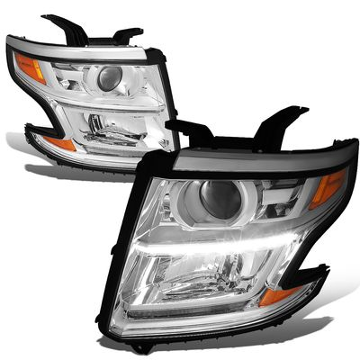 15-17 Chevy Tahoe/Suburban LED DRL Projector Headlights  - Chrome / Amber