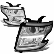 15-17 Chevy Tahoe/Suburban LED DRL Projector Headlights  - Chrome / Clear