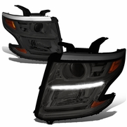 15-17 Chevy Tahoe/Suburban LED DRL Projector Headlights  - Smoked / Amber
