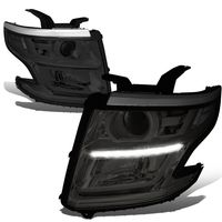 15-17 Chevy Tahoe/Suburban LED DRL Projector Headlights  - Smoked / Clear