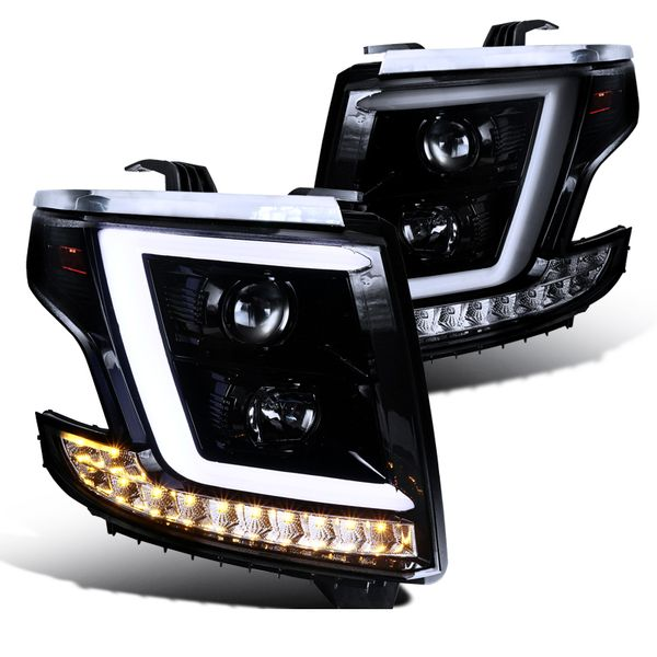 15-20 Chevy Tahoe / Suburban [Halogen Model] Optic-LED Tube Projector Headlights Smoked