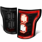 15-17 Ford F-150 [3D LED PYRO Tube] Tail Lights - Black / Smoked