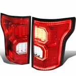 15-17 Ford F-150 [3D LED PYRO Tube] Tail Lights - Red / Clear