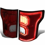 15-17 Ford F-150 [3D LED PYRO Tube] Tail Lights - Red / Smoked