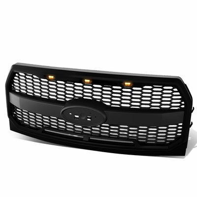 15-17 Ford F150 Honeycomb Mesh Front Grille [LED Light Built-In] - Black