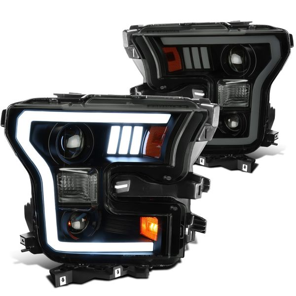 15-17 Ford F150 LED DRL Projector Headlights - Black Smoked