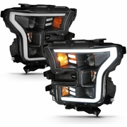 15-17 Ford F150 LED DRL Tube G2 Projector Headlights - Black