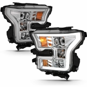 15-17 Ford F150 LED DRL Tube G2 Projector Headlights - Chrome