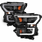 15-17 Ford F150 LED DRL Tube Projector Headlights - Black