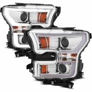 15-17 Ford F150 LED DRL Tube Projector Headlights - Chrome