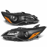 15-17 Toyota Camry Replacement Projector Headlights - Black / Amber