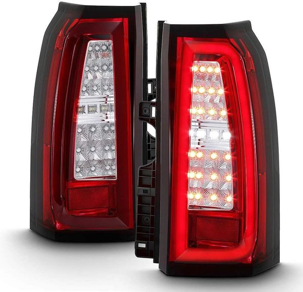 2015-2019 Chevy Suburban / Tahoe Optic-Style LED Tube Tail Lights - Red Clear