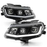 [Halogen Model] 2016-2018 Chevy Camaro LED Tube Dual Projector Headlights - Black