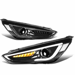 15-18 Ford Focus LED DRL Sequential Signal Projector Headlights - Black