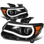 15-19 Chevy Colorado LED DRL Tube Projector Headlights - Black Amber
