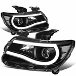 15-19 Chevy Colorado LED DRL Tube Projector Headlights - Black Clear