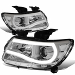 15-19 Chevy Colorado LED DRL Tube Projector Headlights - Chrome Clear